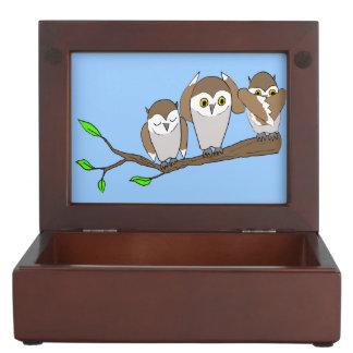 three wise owls keepsake box