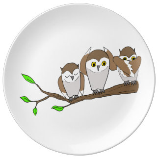 three wise owls porcelain plate