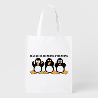 Three Wise Penguins Design Graphic Reusable Grocery Bag