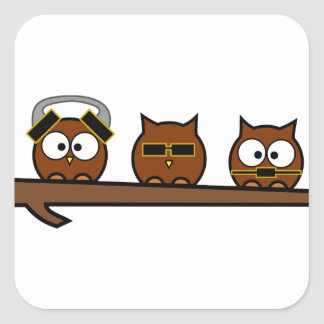 Three Wise Quirky Owls Stickers
