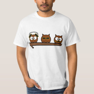 Three Wise Quirky Owls T-Shirt