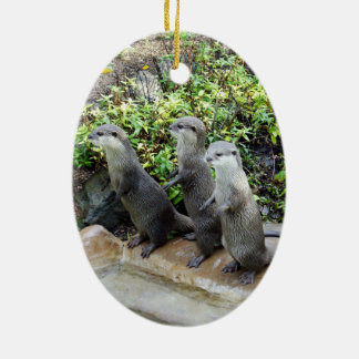 Three Wise Standing Otters, Christmas Ornament