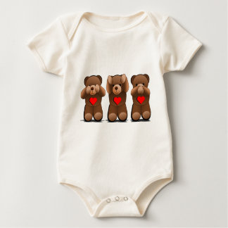 Three Wise Teddies, Teddy Bear Print Baby Bodysuit