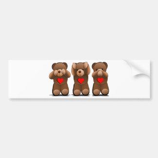 Three Wise Teddies, Teddy Bear Print Bumper Sticker