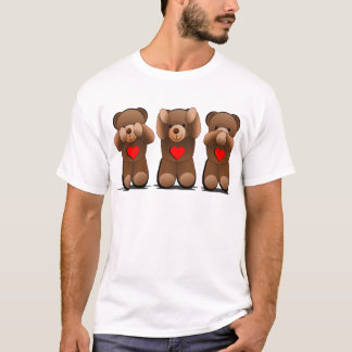 Three Wise Teddies, Teddy Bear Print T-Shirt