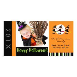 Three Witches Family Halloween Photocard Personalized Photo Card