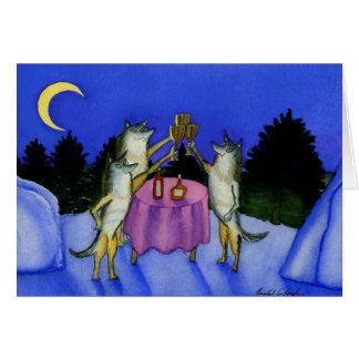 Three Wolves in Snow Card