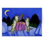 Three Wolves in Snow Greeting Card