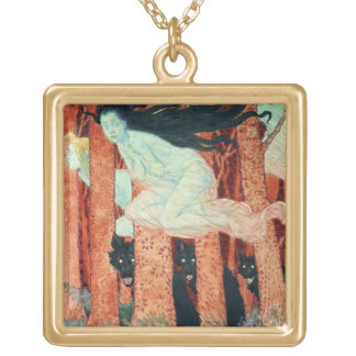 Three Women and Three Wolves (w/c) Gold Plated Necklace