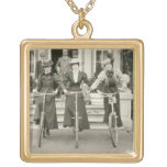 Three women on bicycles, early 1900s (b/w photo) gold plated necklace
