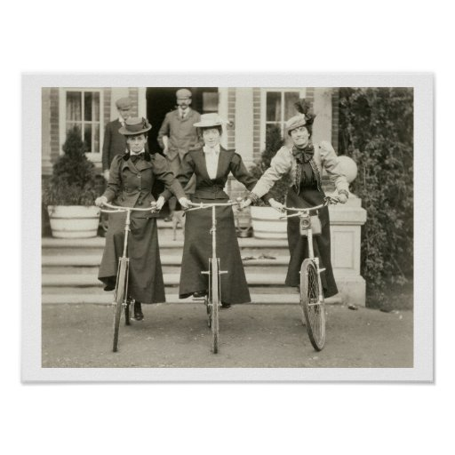Three women on bicycles, early 1900s (b/w photo) poster