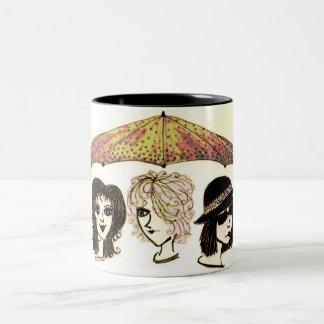Three Women Under Umbrella Artwork Mug