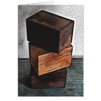 Three Wooden Boxes On Dresser Card