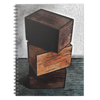 Three Wooden Boxes On Dresser Notebook