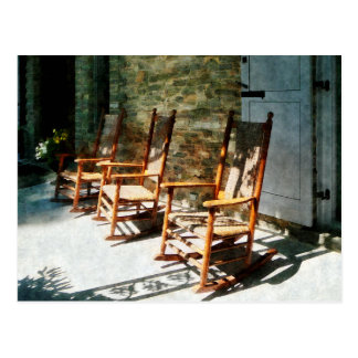 Three Wooden Rocking Chairs on Sunny Porch Postcard