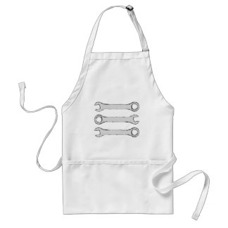 Three Wrenches. Gray and Black. Standard Apron