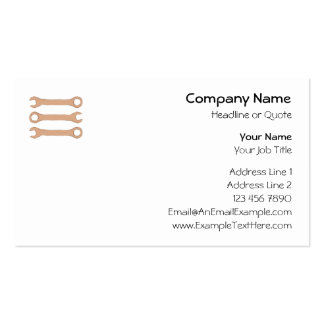 Three Wrenches. Tools. Brown. Pack Of Standard Business Cards