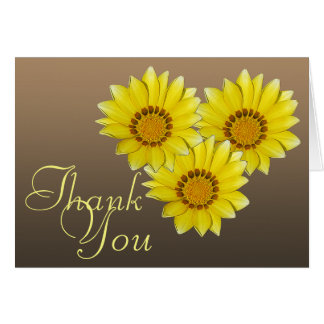 Three Yellow Gerbera Daisy Photo Floral Thank You Card
