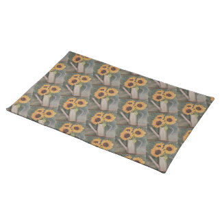 THREE YELLOW SUNFLOWERS FLORAL PLACEMAT