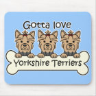Three Yorkshire Terriers Mouse Mat