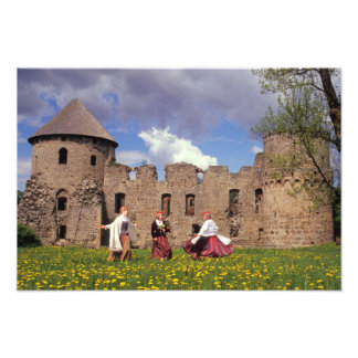 Three young women in traditional clothes photo print