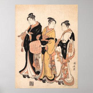 Three Young Women Masquerading as Komuso Poster