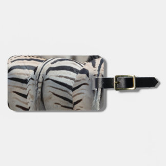 Three zebra tails and behinds luggage tag