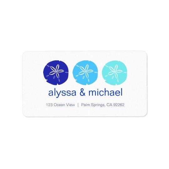 ThreeBlueSandDollars, alyssa & michael, 123 Oce... Label