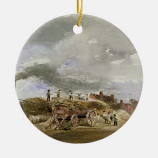 Threshing Corn (pencil & w/c on paper) Christmas Ornament