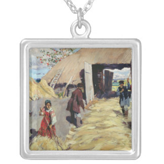 Threshing Floor, 1916 Silver Plated Necklace