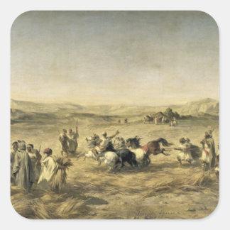 Threshing Wheat in Algeria, 1853 Square Sticker