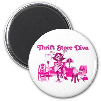 Thrift Store Diva Round 6 Cm Round Magnet