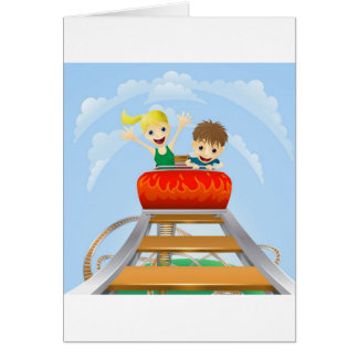 Thrilling roller coaster ride greeting card