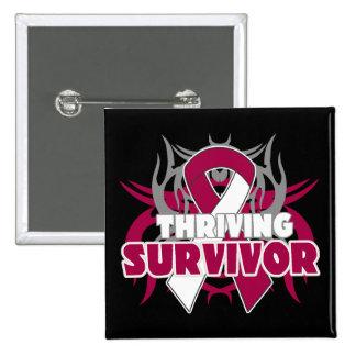Thriving Throat Cancer Survivor Pin