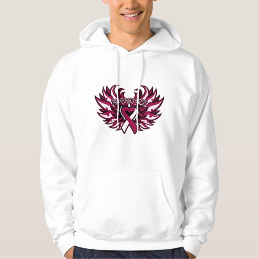 Throat Cancer Awareness Heart Wings.png Hooded Pullovers