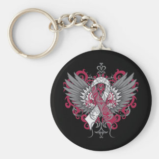 Throat Cancer Cool Wings Basic Round Button Key Ring