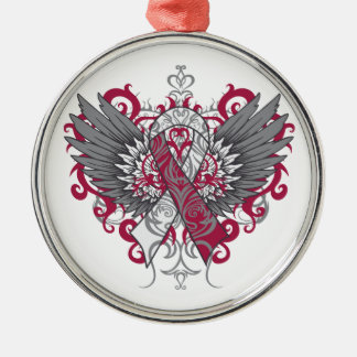 Throat Cancer Cool Wings Silver-Colored Round Decoration
