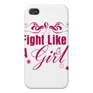 Throat Cancer Fight Like A Girl Ornate iPhone 4/4S Case