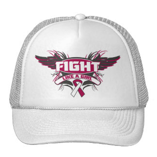 Throat Cancer Fight Like a Girl Wings.png Trucker Hat
