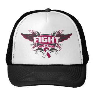 Throat Cancer Fight Like a Girl Wings.png Hats