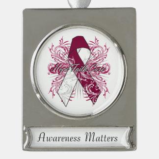 Throat Cancer Flourish Hope Faith Cure Silver Plated Banner Ornament