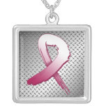 Throat Cancer Grunge Ribbon Metal Style Personalised Necklace