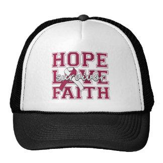 Throat  Cancer Hope Love Faith Survivor Cap