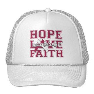 Throat Cancer Hope Love Faith Survivor Mesh Hats