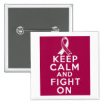 Throat Cancer Keep Calm and Fight On 15 Cm Square Badge
