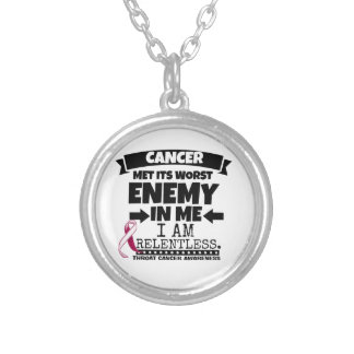 Throat Cancer Met Its Worst Enemy in Me Round Pendant Necklace