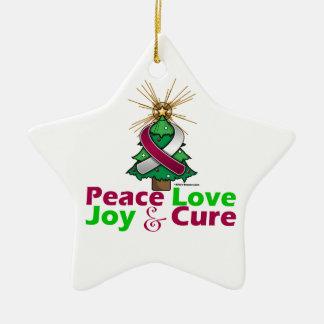 Throat Cancer Peace Love Joy Cure Ceramic Star Decoration