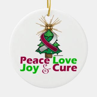 Throat Cancer Peace Love Joy Cure Round Ceramic Decoration