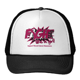 Throat Cancer POW Style Fight Like A Girl Trucker Hat