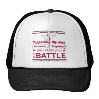 Throat Cancer Supporting My Hero Trucker Hat